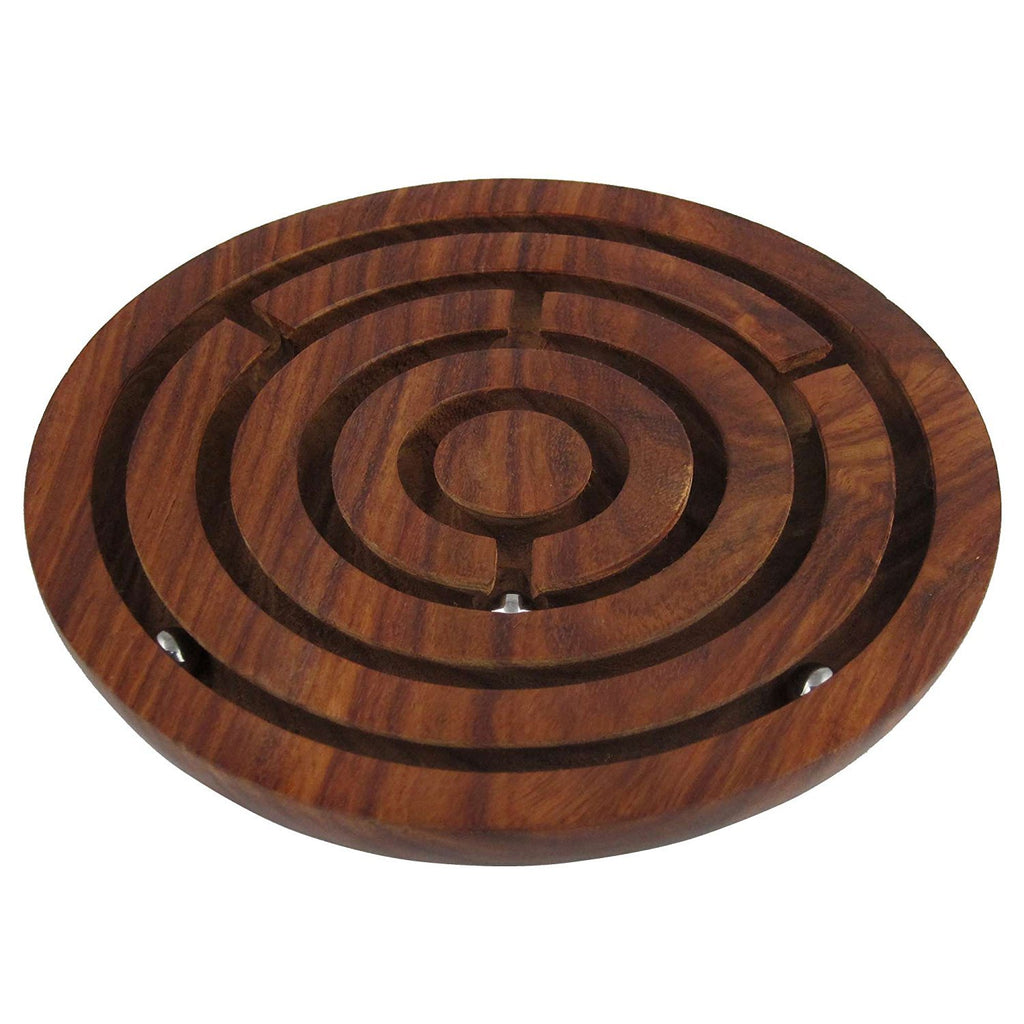 Handcrafted Wooden Labyrinth Ball Maze Puzzle Game