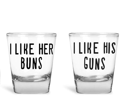 I Like Her Buns, I Like His Guns 2 Pack Round Set of Shot Glass