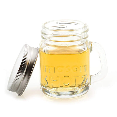 Mini Mason Jar Shot Glasses with Handles Set of 8  Leak-Proof Lids