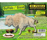Puzzled Buffalo/Bison 3D Natural Wood Puzzle