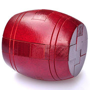 Red Wooden Barrel Brain Teaser , 3 inch Puzzle