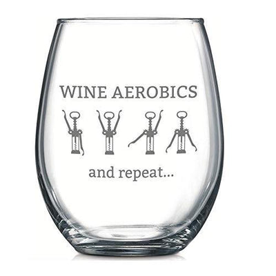 Wine Aerobics Funny Wine Glass Stemless 17 oz