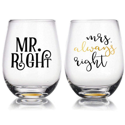 """Mr Right & Mrs Always Right"" - 22oz Stemless Wine Glasses Set of 2, Gift for Wedding Married Couple, for Engagement Gifts"