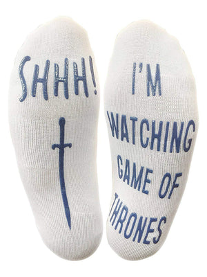 """Shhh I'm Watching Game Of Thrones"" Funny Socks"