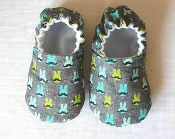 Mustache Bunny Baby Moccs