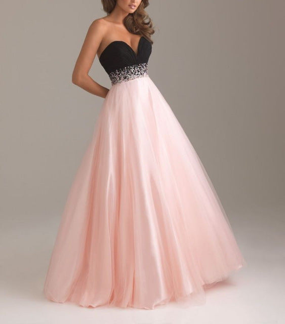 Sexy Low Cut Prom Gown Vestidos Sweetheart Beading Crystal Tulle ...