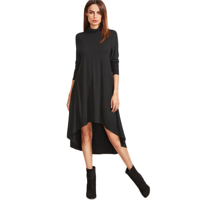 4716bf008b7b Autumn Full Sleeve Dresses Black Cowl Neck Long Sleeve High Low Swing  T-shirt Dress