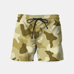 Yellow Sand Camouflage Army Pattern Swim Shorts - Pop Iconic