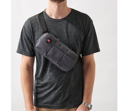 Villager Supplies 3UP Nintendo Switch sling bag worn on model at front of body