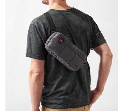 Villager Supplies 3UP Nintendo Switch sling bag worn on back of body