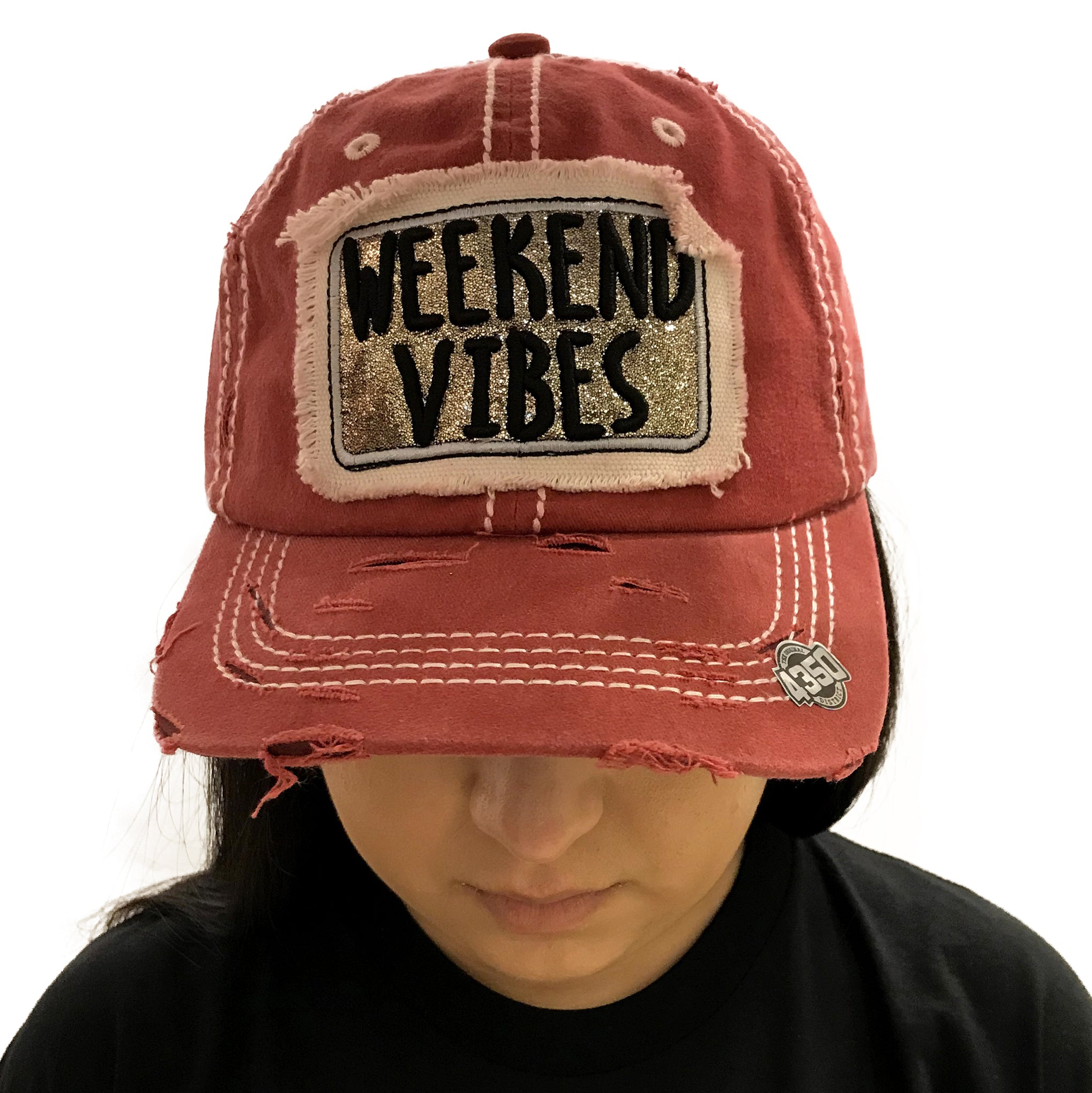 Cap Weekend Vibes Distressed Red Denim