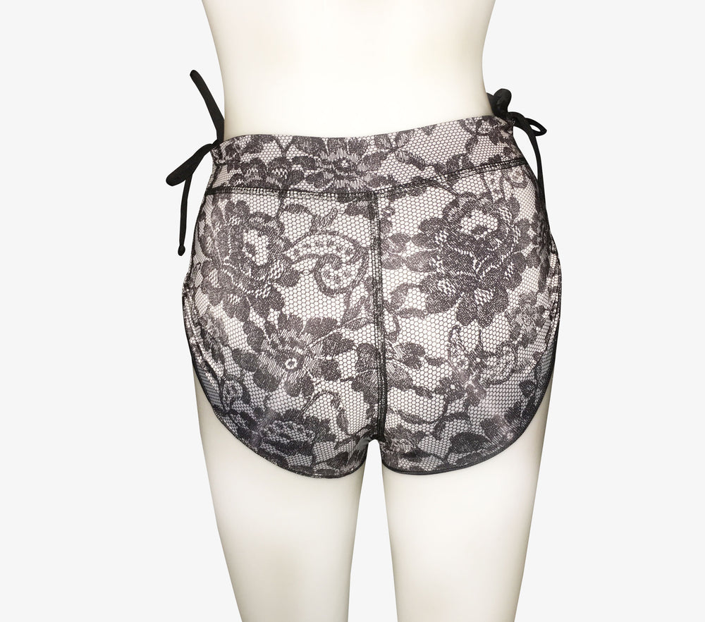 SHORTS DRAWSTRING REVERSIBLE BLACK LACE/BLACK