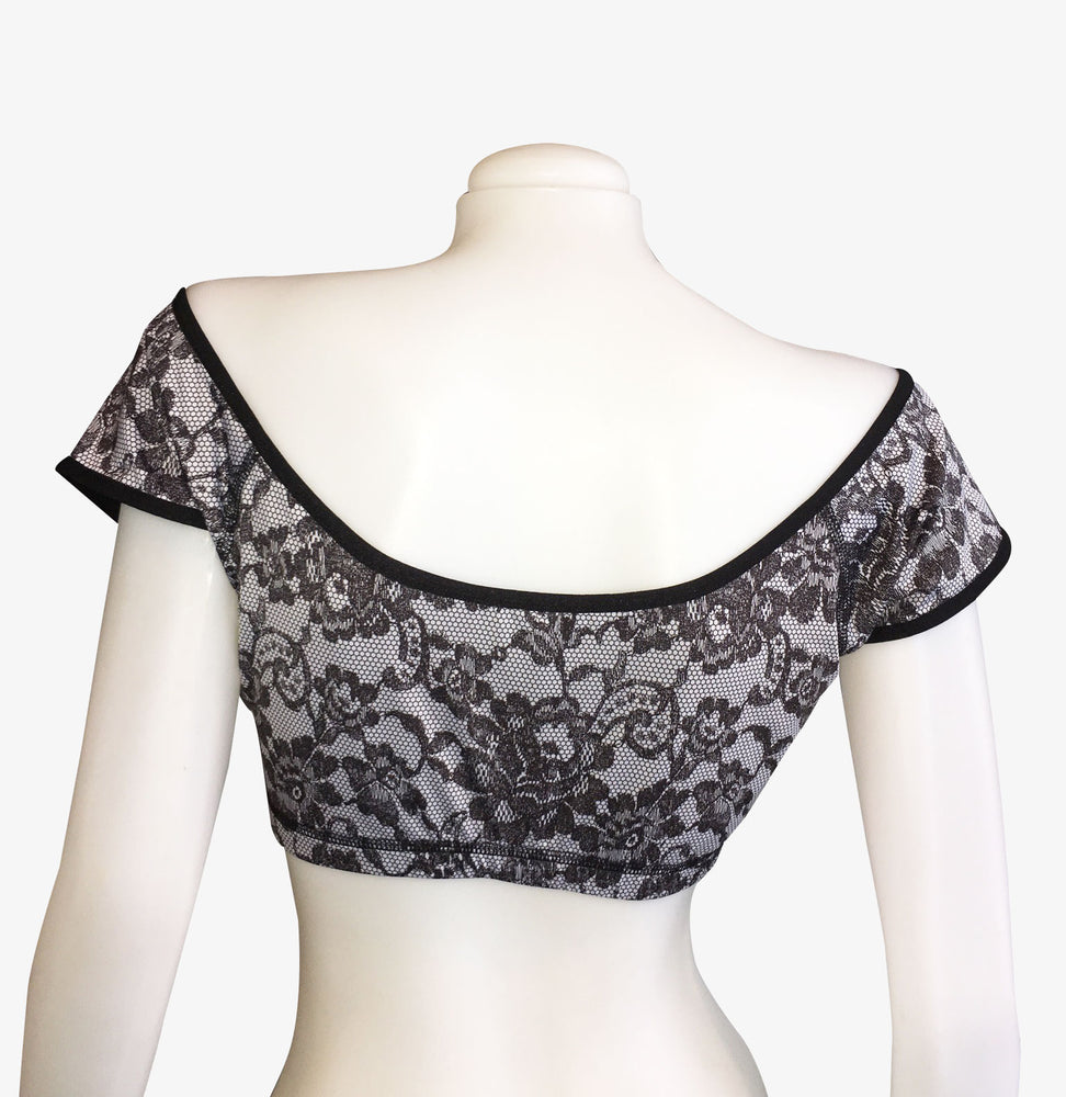 OFF THE SHOULDER REVERSIBLE CROP TOP/VINTAGE BLACK LACE/BLACK