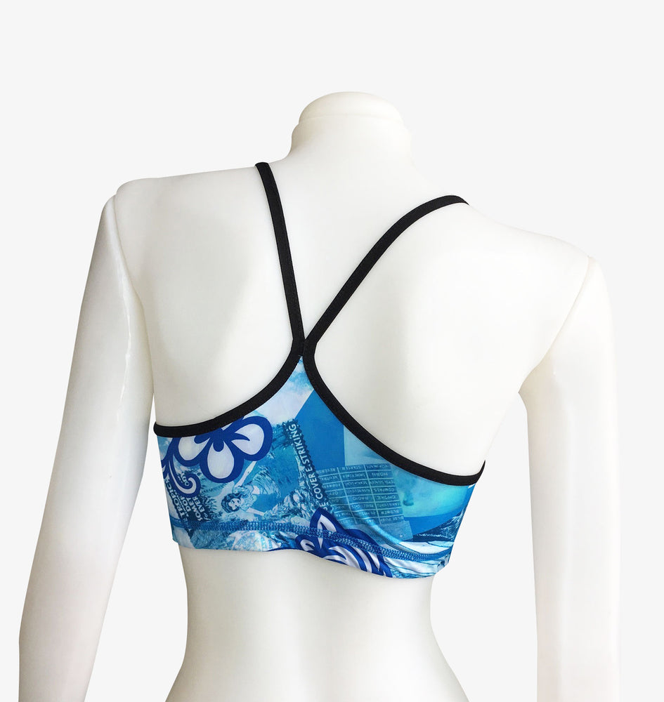 SPORTS BRA REVERSIBLE VINTAGE BLUE HAWAII/OCEAN BLUE