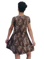 SWING DRESS BROWN TIGER/LEOPARD