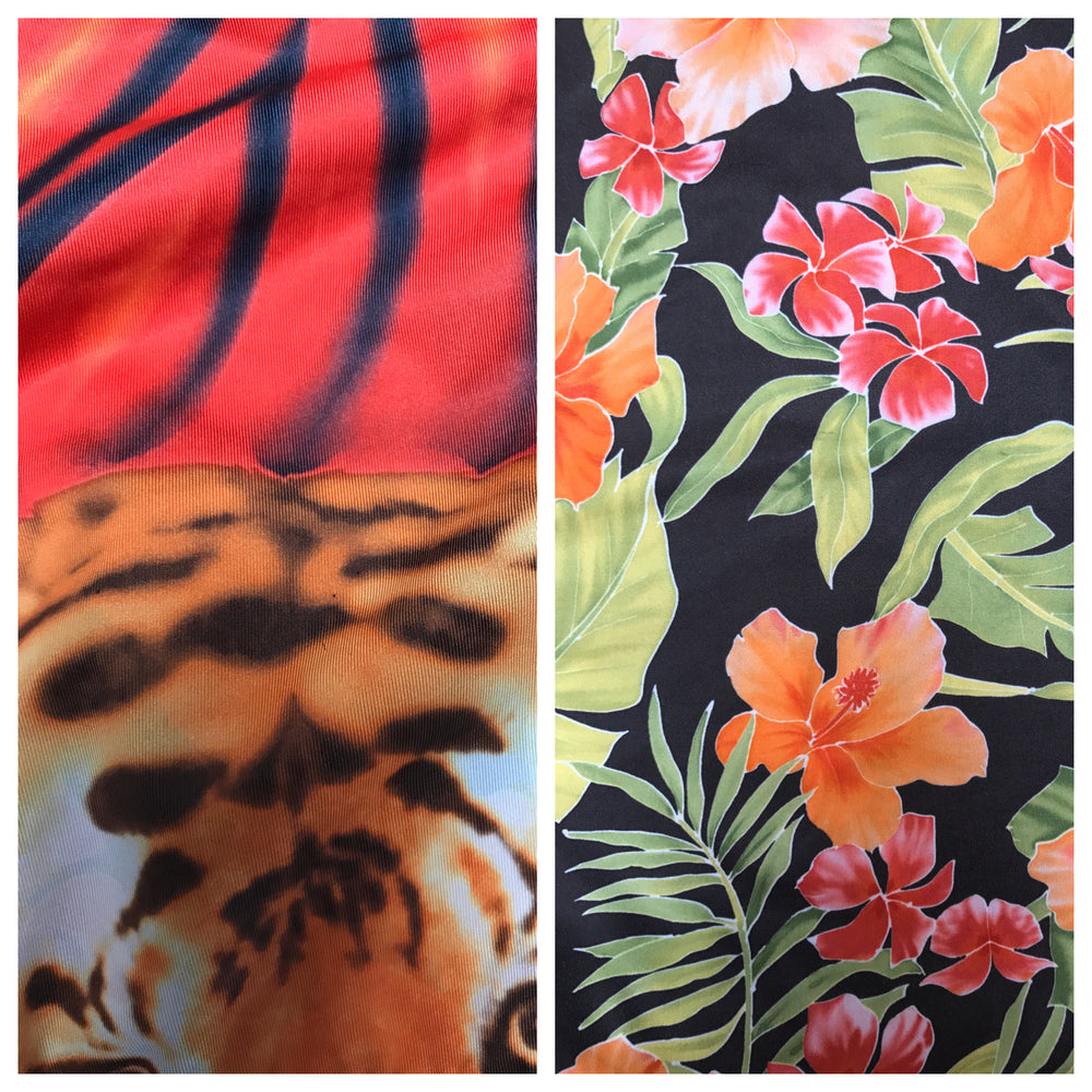 SIMPLE TENNIS SKIRT /COVER UP REVERSIBLE RED TIGER/HAWAIIAN FLORAL