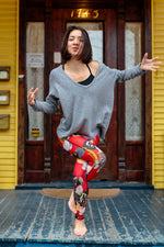 LEGGINGS RED GEISHA/RED PLAID
