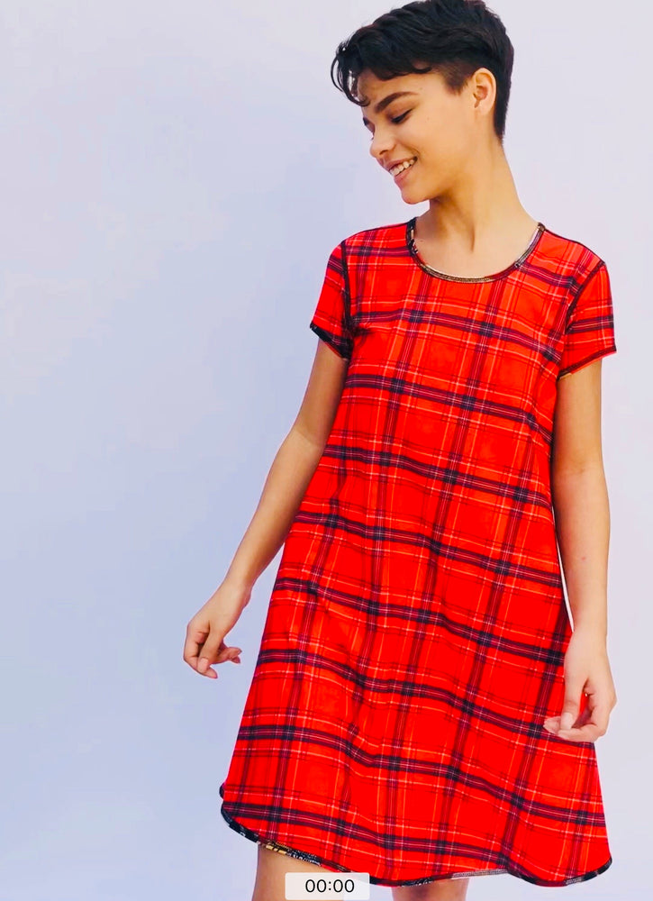 SWING DRESS RED GEISHA/RED PLAID