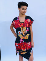 V NECK SIDE SLIT DRESS RED TIGER/HAWAIIAN FLORAL
