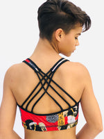 SPORTS BRA CRISSCROSS RED GEISHA/RED PLAID