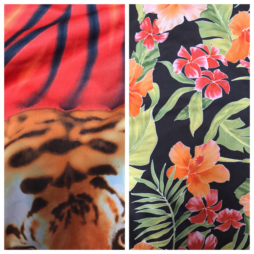 LEGGINGS RED TIGER/HAWAIIAN FLORAL (low rise)