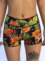 UNISEX LOW RISE BOY SHORTS RED TIGER/HAWAIIAN FLORAL