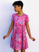 SWING DRESS VINTAGE PINK HAWAII/PINK BATIK