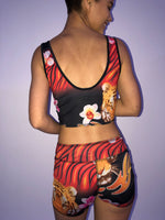 SPORTS BRA BRALET RED TIGER/HAWAIIAN FLORAL