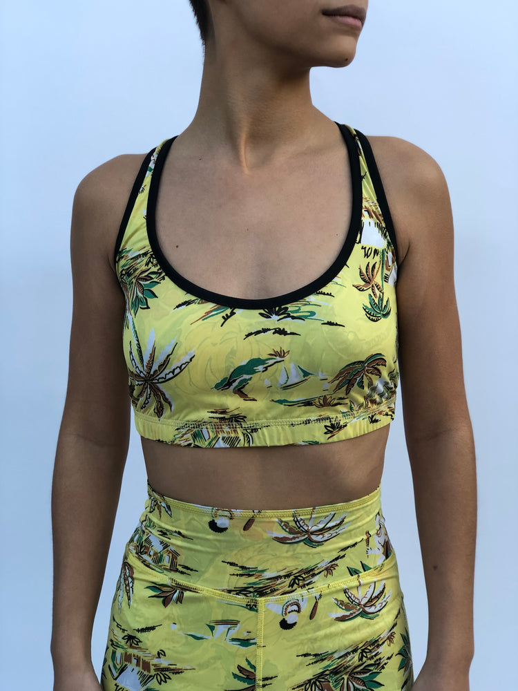 CRISSCROSS SPORTS BRA TAHITIAN LOVE/GONE BANANAS