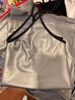 V Neck Spaghetti Strap Top Metallic Silver