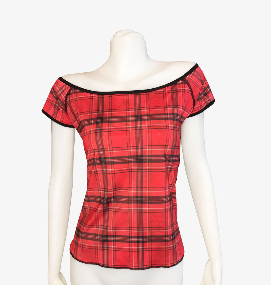 Red Geisha + Red Plaid – Reversible Off The Shoulder Long