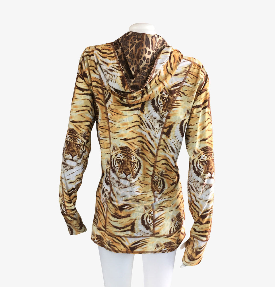 Hoodie Reversible Brown Tiger/Leopard