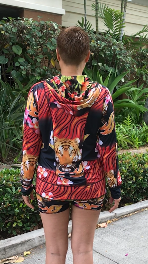 Red Tiger + Hawaiian Floral – Reversible Hoodie