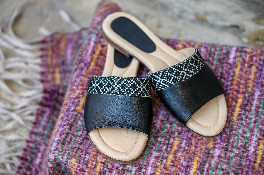 The Tatreez Slide Sandal in Black