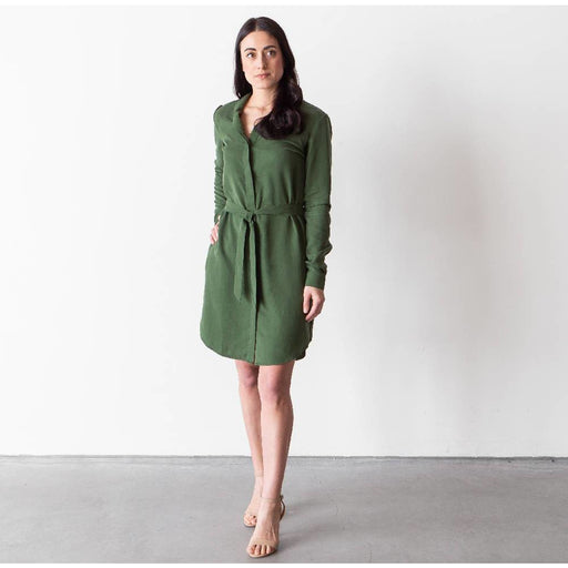 Enzyme-washed Tencel Shirt Dress: Moss Green