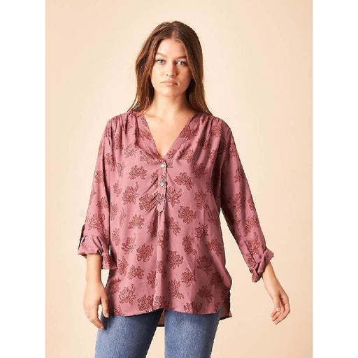 Patterned Flower Tunic in Mauve + Berry