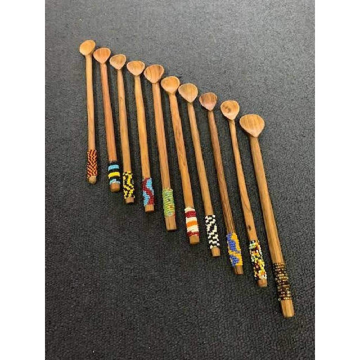 "9"" Cocktail Beaded Wooden Spoon -w"