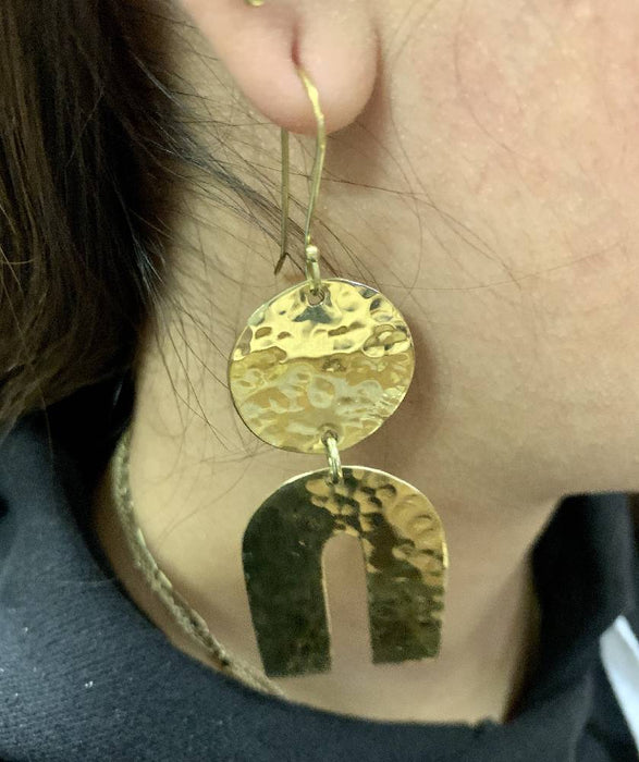 All Brass Dangle Earrings
