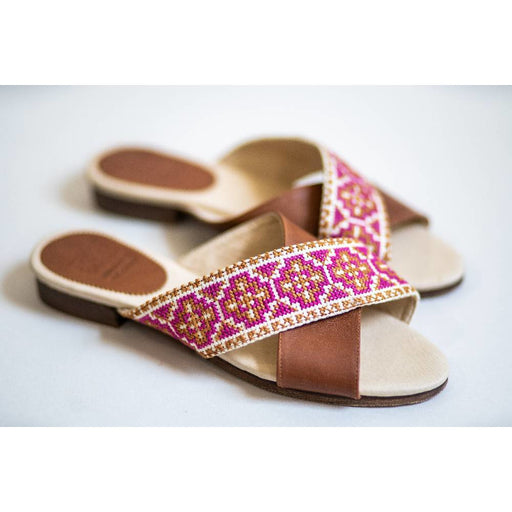 The Tatreez Cross Sandal in Berry