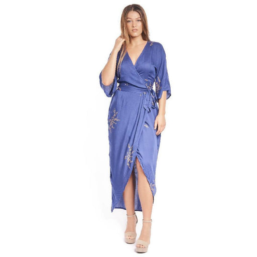 Cherry Blossom Maxi Wrap in Royal Blue + Gold