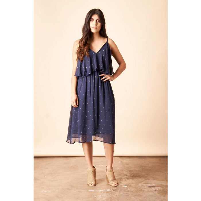 Baby Cacti 'Cropped' Midi Dress in Navy + Gold