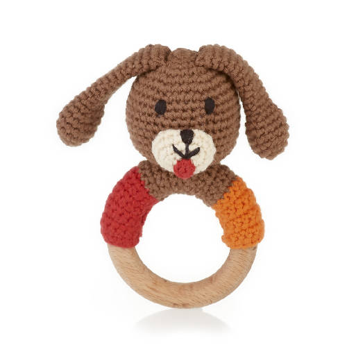 Wooden Teething Ring Rattle Dog