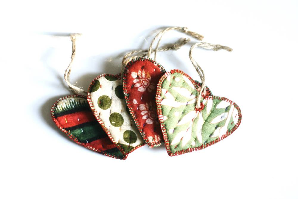 Cloth Heart Ornament - Variety Pack of 4