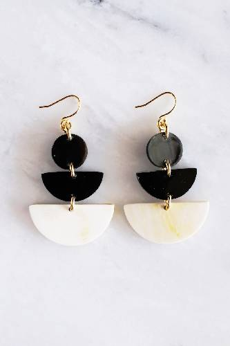 Saigon 16K Gold Plated Geometric Statement Buffalo Horn Earrings