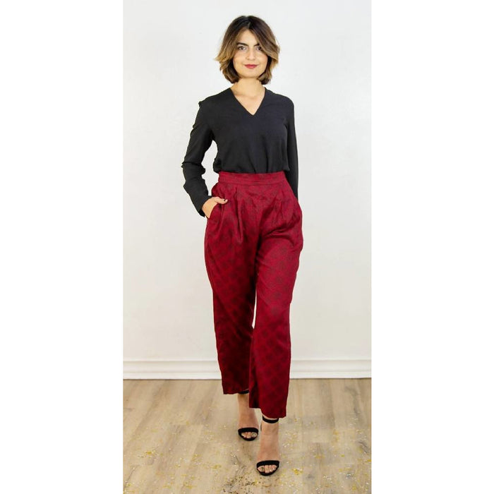 High Waisted Cropped Trousers in Berry + Black