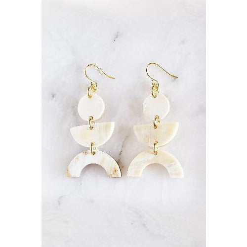 Vui Mung Geometric Buffalo Horn Statement Earrings