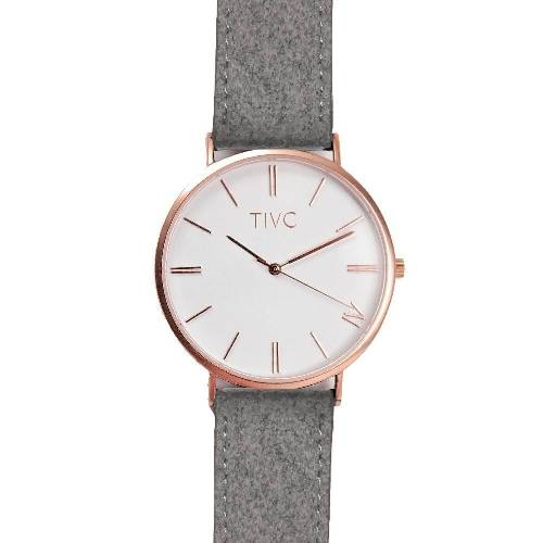 36mm Rose Gold | Grey Suede Stitched Band