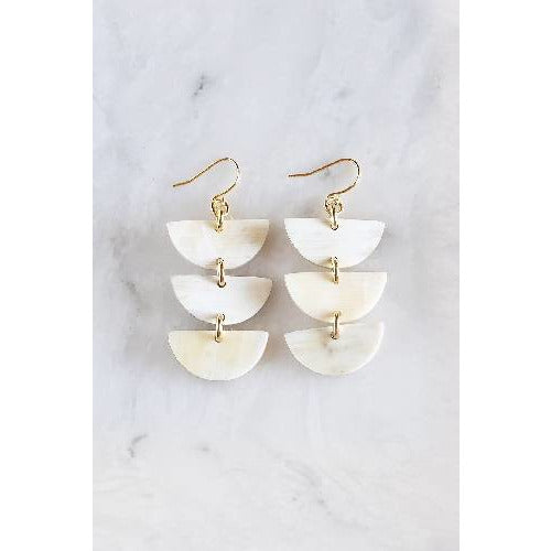 Hanoi 16K Gold Plated Triple Crescent Stacked Buffalo Horn Earrings