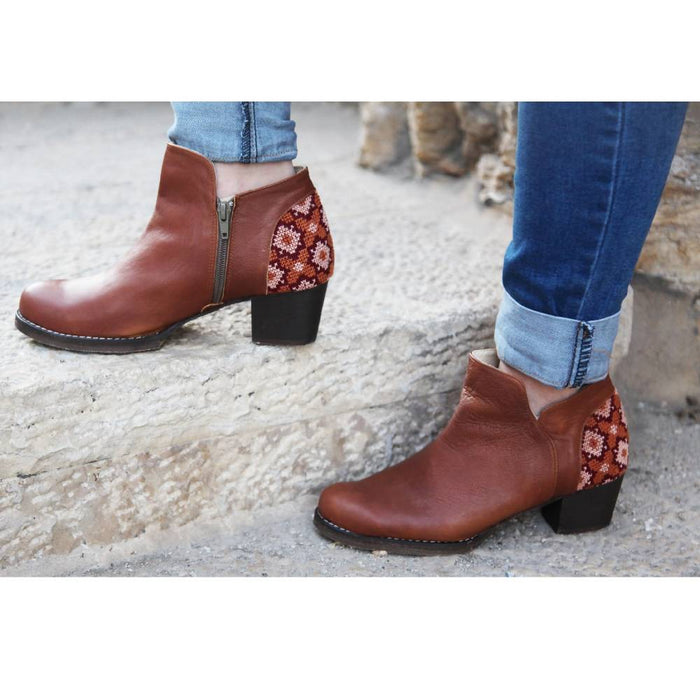 Tatreez Ankle Boot in Brown