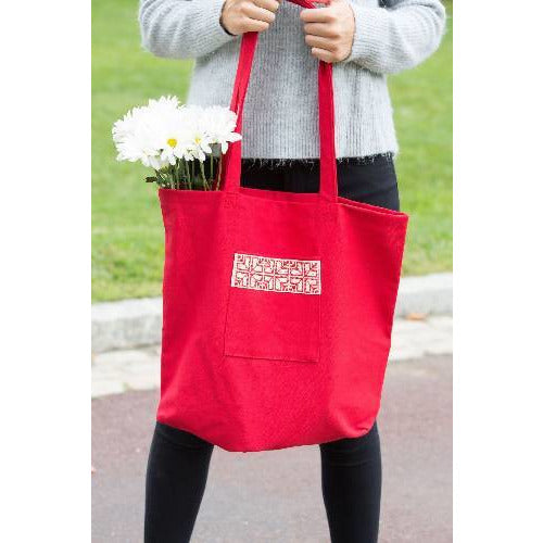 Red Fabric Market Tote Bag